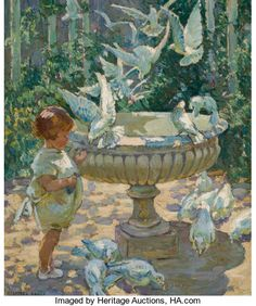 Fine Art - Painting, European, DOROTHEA SHARP (British, 1874-1955). At the Fountain. Oil oncanvas. 29 x 24 inches (73.7 x 61.0 cm). Signed lower left:...