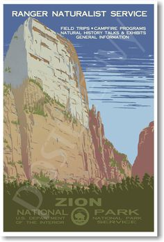 Amazon.com : Zion National Park Utah - NEW Vintage World Travel Artwork Poster : Wall Maps : Office Products