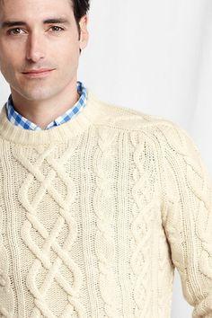Aran Cashmere Crew Sweater | As Seen In GQ Magazine #Spring2014 #LandsEnd