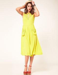 Enlarge ASOS Midi Dress With Cutwork Neck And Pockets