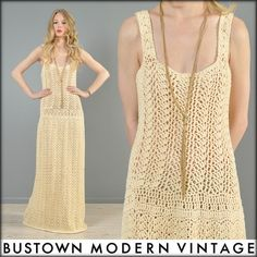 vtg 70s CROCHET cutout SUPERMODEL hippy boho wedding goddess maxi dress gown via bustown modern vintage