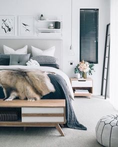 I love all the neutral colours and textures in this cozy bedroom!