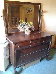 Antique Dresser With A Vanity Mirror Furniture Ebay