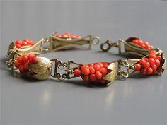 Vintage Gold Gilt Silver Genuine Coral Grape Cluster Bracelet | eBay
