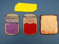 photo(66) Yellow Butter, Purple Jelly, Red Jam and Brown Bread