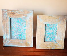 Antique finished frame with turquoise and gray lace instead of a photo.