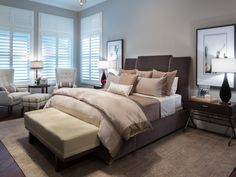 Jonathan Scott's calm, transitional bedroom features a neutral color palette mixed with rich browns, as seen on HGTV's The Property Brothers at Home.