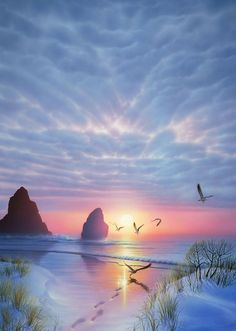 Probably a painting not real, but amazing colours of birds in flight at sunrise