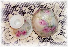 Top view of Large porcelain egg on porcelain egg stand. Hand painted & original design by Priscilla