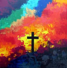 Cross of Jesus painting abstract rainbow colors. Christian Paintings, Christian Art, Cross Canvas Paintings, Cross Canvas Art, Jesus Painting, Cross Art, Prophetic Art, Easter Art, Jesus On The Cross