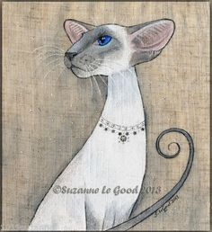 ORIGINAL SIAMESE CAT PAINTING EMBROIDERY WITH MIRROR STARS BY SUZANNE LE GOOD | eBay