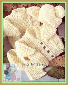 PDF Knitting Pattern for Aran Cardigan Sweater Hat & Scarf to