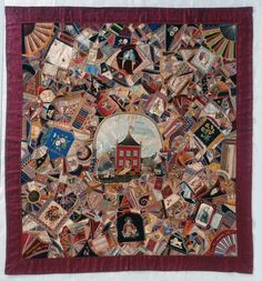"""My Crazy Dream"" by Mary M. Hernandred Ricard, made in Boston and Haverhill, MA, from 1877-1912. (IQSCM 1997.007.0541) #quilt #Massachusetts #crazyquilt #JamesCollection #IQSCM"