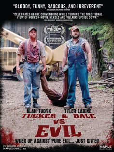 Tucker and Dale vs Evil. A really funny reversed survival movie where college kids are freaks and hillbillies simply nice. Definitely for a friends and pop corn quality time! Tyler Labine and Alan Tudyk are just playing it right! Funny Movies, Great Movies, Funniest Movies, Hero Movie, Movie Tv, West Virginia, Tucker And Dale Vs Evil, Film Serie, Streaming Movies
