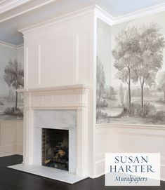 Bespoke mural wallpaper | Museum-quality reproductions of fine artist Susan Harter's full size murals | Scenic landscapes are printed on luxury canvas wallpaper with archival inks | Mural wallpapers to last a lifetime and beyond. Interior And Exterior, Interior Design, Farmhouse Interior, Farmhouse Style, Scenic Wallpaper, Custom Wallpaper, Living Room Murals, Deco Addict, Room Color Schemes