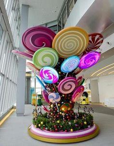 波板糖树 圣诞棒棒糖树 泡沫雕塑 创意糖...