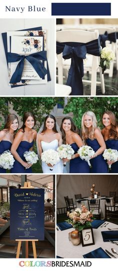 Top 8 Fall Wedding Colors Palettes in Shades of Blue. How to use the color of blue in your fall wedding? Here we've got 8 fabulous fall wedding colors blue ideas for your inspiration! Best Wedding Colors, Wedding Color Schemes, Navy Blue Wedding Theme, December Wedding Colors, Marine Wedding Colors, April Wedding, Marine Wedding Decorations, Wedding Ideas Blue, Wedding Color Palettes