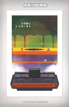 PITFALL Atari 2600 Retro Vintage Classic Video Game Art Print - I used to love this machine and that game