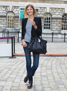 Another really easy outfit combination. Stripes, blazer, jeans and short flat biker boots.