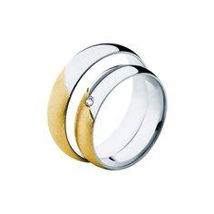 SAVICKI - Obrączki ślubne: Obrączki z dwukolorowego złota (609/BZ/5/L/W/1x0,02) - Biżuteria od 1976 r. Rings For Men, Wedding Rings, Engagement Rings, Jewelry, Enagement Rings, Men Rings, Jewlery, Jewerly, Schmuck