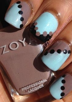 Nail art using Revlon Waterfall and Zoya Zinger Zinger Zinger Nail Polish Jana