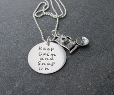 Keep Calm and Snap on for the photographer, photography, pro, amateur Hand Stamped Jewelry Keep Calm and Snap On by klacustomcreations, $49.90