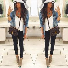 jean jacket or chambray shirt over a white shirt, black jeans, and tan booties