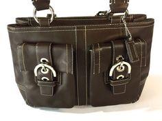 Coach 8A09 Brown Soho Satchel Purse Hand Bag Leather Tote Shopper #Coach #ShoulderBag