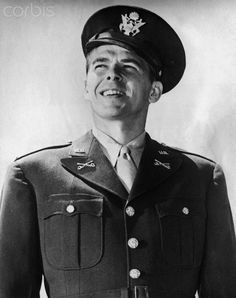 In 1947 Ronald Reagan received a comission as a second lieutenant in the US Cavalry Reserve, following training at Fort Des Moines, IA. On April 19, 1942, he entered the Army Air Forces first Motion Picture Unit, with the rank of second lieutenant and later rose to that of captain. Undated photograph.
