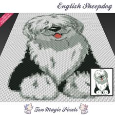 English Sheepdog crochet blanket pattern; knitting, cross stitch graph; pdf download; written counts