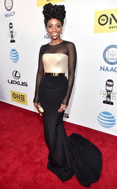 Teyonah Parris from NAACP Image Awards 2016: Red Carpet Arrivals  The Chi-raq star and Outstanding Actress in a Motion Picture nominee is slaying this red carpet from head to toe.