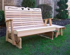 Cedar Country Hearts Rocking Glider , Glider Bench, Cedar Bench, Outdoor  Bench