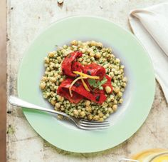 Moghrabieh, chickpea and chargrilled red pepper salad recipe by Bethany Kehdy.