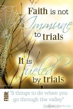 Faith is not immune to trials. Faith is fueled by trials. Be encouraged to endure seasons of testing with this inspiration and wisdom taken from Psalm 23, 1 Peter, and Hebrews. Scripture quotes, Bible verses, Christian encouragement for the discouraged be