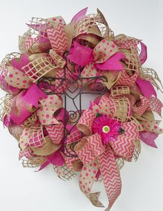 Hot Pink and Natural Faux Burlap Wreath features rustic heart cross, chevron and polka dot ribbons, Shasta daisy, bow,open weave burlap ties...