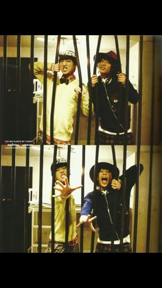 "Baro and Gongchan playing in the jail from the original music video ""Beautiful Target"" ^^"
