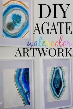 DIY Agate Watercolor Artwork via http://www.firsthomelovelife.com #diy #watercolors #paint
