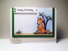 "Lawn Fawn - Critters Down Under, Stitched Journaling Card Lawn Cuts _  ""Hoppy Birthday"" Card by Yukari via Flickr - Photo Sharing!"