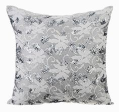 Grey Silver Couch Cushion Covers 16 x 16 Pillow by TheHomeCentric