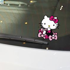 Lovely Car Accessories Hello Kitty and The Bow-knot Funny Car Sticker and Decal for Bmw Audi Mercedes Ford Focus Vw Skoda Golf 7 //Price: $5.97 & FREE Shipping //     #hashtag3