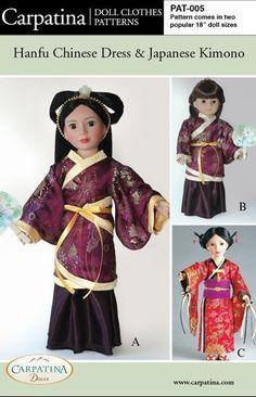 Chinese Hanfu and Japanese Kimono Doll Clothes pattern by carpatina, $9.95