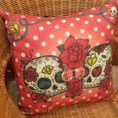 PRE ORDER Clumsy Mexican Sugar Skull Calaveras and Rose Tattoo Pillow Cushion in Red Spotty Polka Dot on Etsy, $34.17