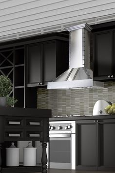Remodel your kitchen with the ZLINE 655-4SSSS designer stainless steel wall mount range hood is perfect with black kitchen cabinets. It has brushed stainless steel exterior & chimney with shiny steel front & side bands & elegant buttons. This hood comes in sizes 30, 36, 42 & 48 inches & includes 2 directional LED lights, ducting venting, high performance 900 or 1200 CFM/4-speed. Purchase today at www.therangehoodstore.com