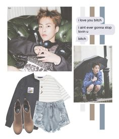 """Kim Minseok"" by lazy-alien ❤ liked on Polyvore featuring Charlotte Russe, RIPNDIP, H&M, EXO, exom, xiumin and kimminseok"