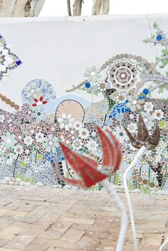 Mosaic Wall by Lize Beekman at de Malle Meul Function Venue in Philadelphia, South Africa. Although the artist is still working on it, the detail is amazing.