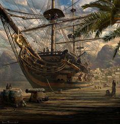 Port Royal, Jamaica, principal nido de piratas en el Caribe durante el siglo XVII, hasta que un terrible terremoto en 1692 arrasó la ciudad. Obra de Sarel Theron. Más en www.elgrancapitan.org/foro