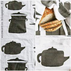 Pata soimaa kattilaa keittiötekstiileissä - hand made kitchen textiles