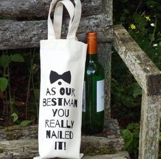 'Best Man Thanks' Wedding Wine Bottle Bag from notonthehighstreet.com