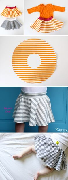 I first ran across this cute baby skirt pattern on iCandy Handmade's website.  It turns out that she made hers based on Made's: Little Baby Circle Skirt Tutorial & Pattern.  Made's website uses any fabric + an elastic and iCandy Handmade's website used Jersey/Knit fabric.  I think both skirt variations were really cute! :: Take …