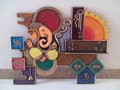 Clay Wall Art, Mural Wall Art, Mural Painting, Hanging Wall Art, Ceramic Painting, Ceramic Art, Lord Ganesha Paintings, Ganesha Art, Clay Art Projects